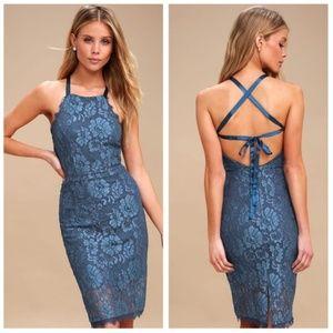 Lulus WISHFUL WANDERINGS BLUE LACE BODYCON DRESS